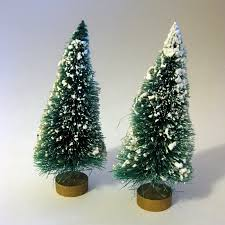 vintage flocked bottle brush trees with gold base christmas