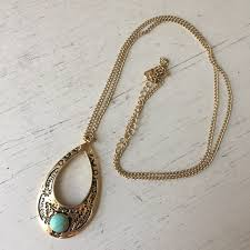 pendant necklace turquoise images Gold and turquoise pendant necklace poshmark jpg