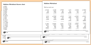 large numbers addition worksheet large numbers addition
