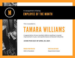 orange black photo employee of the month certificate templates