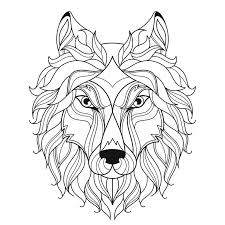 wolf head zentangle stylized coloring page stock vector image