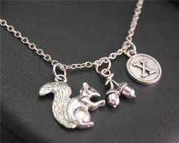 initials necklace silver 1pcs antique silver squirrel pine nut personalized initials