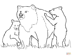 grizzly bear mother and cubs coloring page free printable