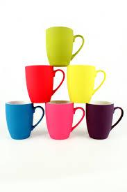 colourful soft touch coffee mug tea cup