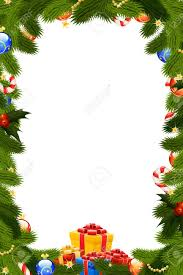 Mistletoe Decoration Christmas Frame Template With Fir Tree Mistletoe Decoration And