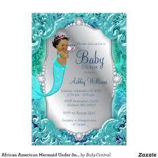 african american mermaid under sea baby shower 13 cm x 18 cm