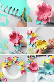 how to make a simple diy spring paper flower wreath diy