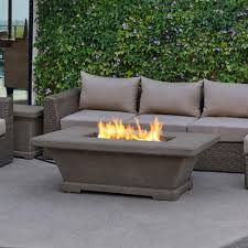 Propane Firepit Real Monaco 55 In Fiber Concret Rectangle Propane Gas