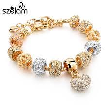 gold bracelet heart charm images Szelam crystal heart charm bracelets bangles gold bracelets for jpg