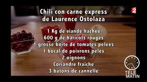 tele matin 2 fr cuisine gourmand chili con carne express de laurence ostolaza 2016 04