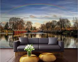 online get cheap rainbow wall mural aliexpress com alibaba group 3d wall murals wallpaper for living room walls 3 d photo wallpaper rainbow over the lake picture decor custom mural painting