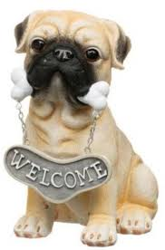 pug with bone welcome sign resin garden ornament statue next day