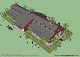 House Barns Plans by Home Garden Plans B20h Large Horse Barn For 20 Horse Stall 20