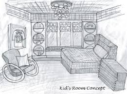 simple bedroom sketch interior design