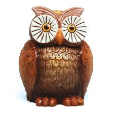 owl brown ceramic kitchen food jar novelty cookie jars