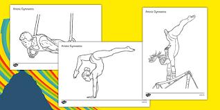 olympics artistic gymnastics colouring sheets olympics