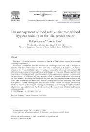 the management of food safety u2014the role of food hygiene training in