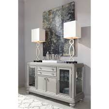 silver dining room table dining room server with glass doors u0026 silver finish by signature