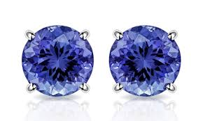 tanzanite stud earrings 2 00 cttw tanzanite stud earrings in 10k white gold by muiblu gems