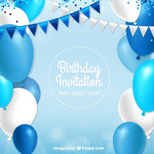 birthday invitation with blue balloons vector free