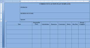 corrective action plan template word project management excel