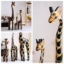 2017 vintage nordic log craft gift giraffe painted animal