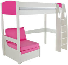 High Sleeper With Desk And Futon Buy Stompa Pink High Sleeper Frame Including Desk And Pink Chair
