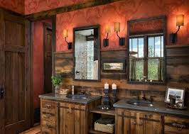 Rustic Bath Vanities Bathroom Terrific Rustic Bathroom Design With Red Patterned