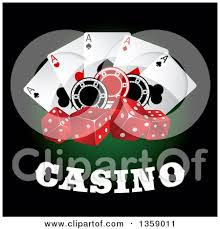 clipart of joker dice and card casino designs on green