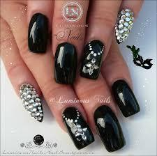 luminous nails black nails with bling nails pinterest