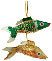 cloisonne fish ornaments set of 2 traditional