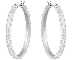 white earrings hoop pierced earrings white rhodium plating jewelry