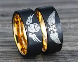 skull wedding ring sets skull wedding band etsy