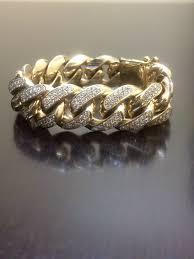 cuban link bracelet men images 14k yellow gold cuban link diamond bracelet 14k diamond jpg