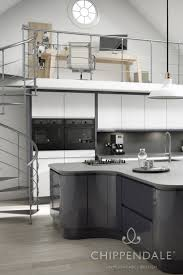 gloss handleless kitchen combining two colours white and