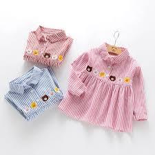 long sleeved dress bear ducks printing lapel blouse beautiful