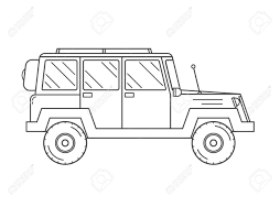 suv jeep black adventure traveler truck outline and thin line icon suv jeep