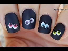 easy halloween nail art black matte nails with colorful eyes