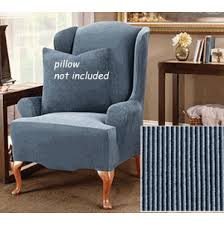 Slipcover Wing Chair Surefit Stretch Stripe Wing Chair Cover