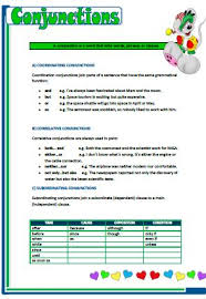 coordinating and subordinating conjunctions worksheet worksheets