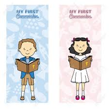 my communion my communion card girl and boy reading the bible royalty free