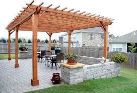 Large Brick Patio Design With 12 X 16 Cedar Pergola Outdoor by Wooden Garden Pergolas Custom Made From Redwood