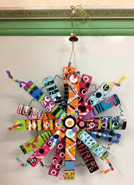 paint stick flower sculpture 5th grade art from