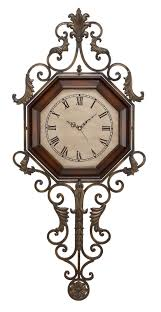 Home Wall Decor And Accents Antique Style Pendulum Metal Wall Clock Beige Face Home Wall Decor
