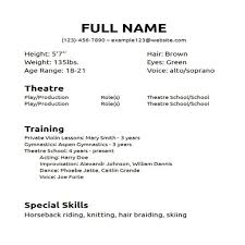 special skills for resume examples acting resume format msbiodiesel us free acting resume samples and musical theater template sample acting resume format