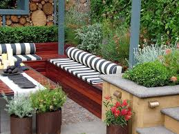 Backyard Seating Ideas by Small Outdoor Garden With Cozy Stripped Seating Idea Enchanting