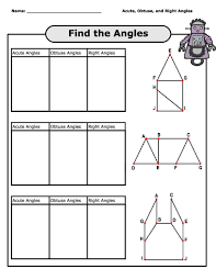 acute obtuse and right angles worksheet worksheets