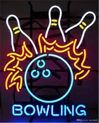 bowling game room neon sign custom store display beer bar pub club