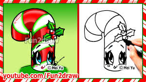 how to draw christmas stuff things cute candy cane holly art