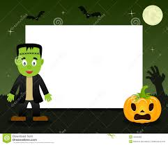 cute happy halloween clip art frankenstein halloween horizontal frame stock vector image 44645680